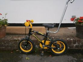 Childs bicycle including stablelisers and removable Adult support handle