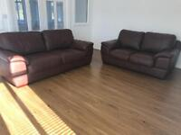 Gorgeous brown leather suite FREE LOCAL DELIVERY 3 seater and 2 seater sofas