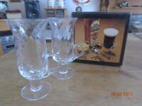 Pair of Crystal Glass Bushmills Dartington Irish Coffee Glasses with original box