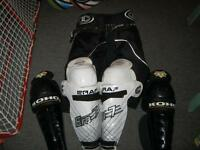 "Hockey equipment- 15"" GRAF Era7 shin pads$15 & Koho shin pads$10"