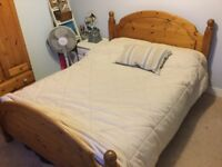 Good quality and good condition solid wood double bed with or without mattress