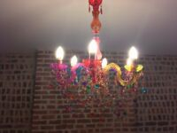 Gypsy style multi coloured chandelier / ceiling light