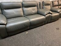 NEW - EX DISPLAY LEATHER LAZYBOY GREY WANSTED 3 + 1 SEATER FULLY ELECTRIC RECLINER SOFAS, 70%Off RRP