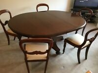 Large Extendable Rosewood Dining Table with Chairs
