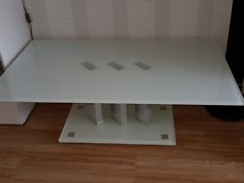 white glass coffee table.