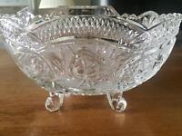 Cut glass oblong bowl