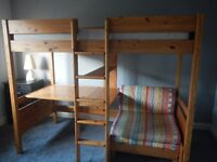 Stompa bed - solid pine high sleeper with chair / sleepover bed desk bookshelf VGC