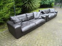 2 Large 100% Soft Brown Leather Sofa's