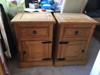 Pair of Mexican pine bedside cabinets free local delivery