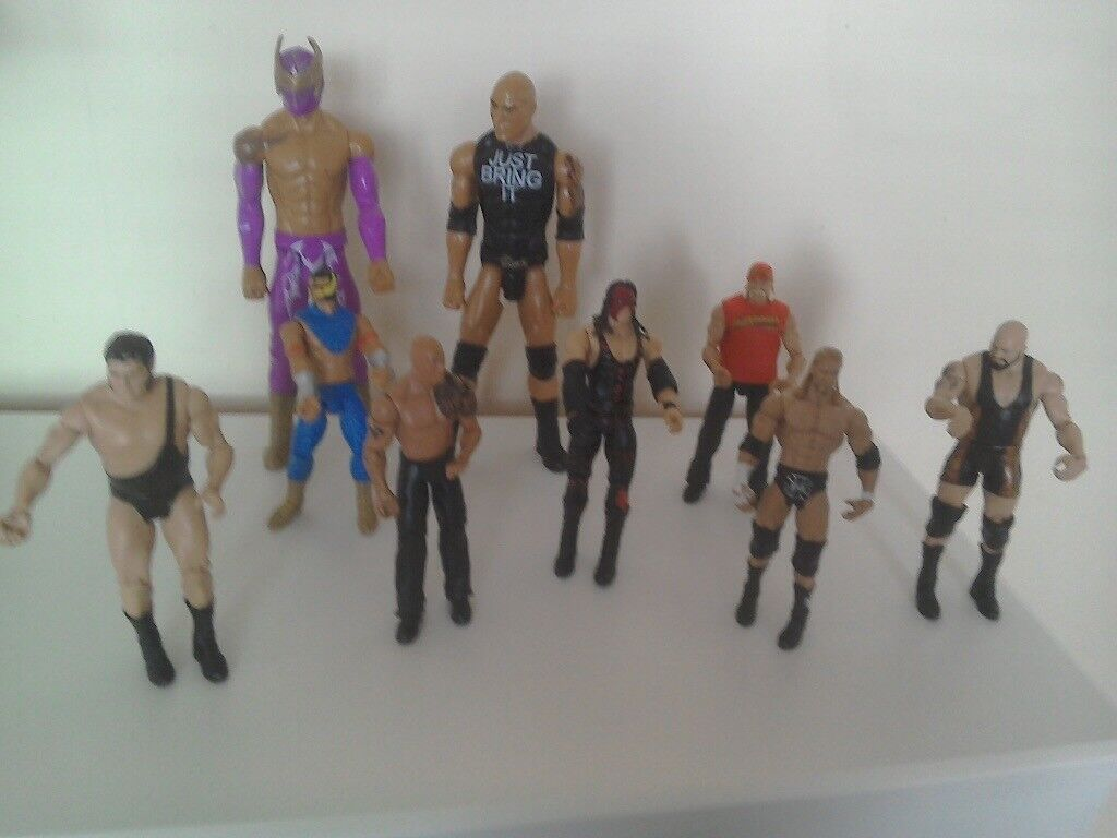 Nine Wrestler Figurines