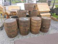 Oak wooden Whiskey Barrels planters or furniture suit pubs clubs discos beer gardens ornaments