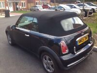 2005 05 bmw mini one convertible 1.6cc met black fully loaded leathers chilli pack mot mint cond