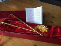 Risis 24 K Carat Gold Chopsticks With Carp Dragon Fish Rest Official Genuine Red Japanese Asian Chop