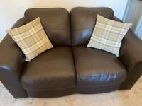 Lovely brown leather sofa settee