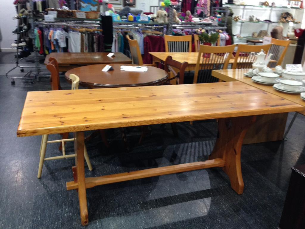 Long pine kitchen dining table