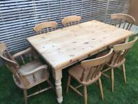 Fantastic solid wood 153cm long farmhouse dining table with two drawers and 6 chairs