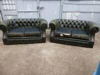A Pair Of Green Leather Chesterfield 2 x 2 Seater Sofas