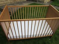 """COT An """"IKEA SUNDVIK"""" Wooden Cot. AS NEW only used by grandparents on occasional stopovers"""