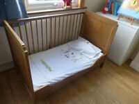 Cot Bed IKEA with matress, pillow, duvet, duvet covers and sheets