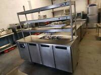 foster 3 door prep fridge with victor Servery Counter Unit with heated Lights and receipts holder