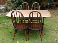 ERCOL WINDSOR DINNING TABLE AND FOUR CHAIRS