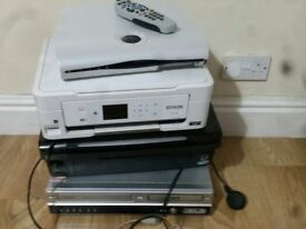 Assorted electricals - printers, sky box, DVD video