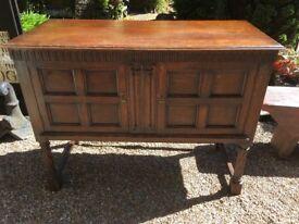Solid Oak Vintage Sideboard - Complete with Keys