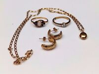 9ct Gold Hallmarked Rings Chain and Earrings