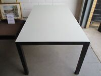 BLACK METAL DINING TABLE WITH FROSTED GLASS TOP MADE BY IKEA FREE DELIVERY