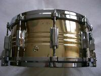 "Pearl Jupiter brass shelled snare drum 14 x 6 1/2"" - Japan - 1970s -Ludwig Supersensitive homage"
