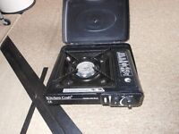 small portable gas cooker plus cans of gas idea camping caravan tenting festival