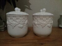 Set of two white ceramic jars