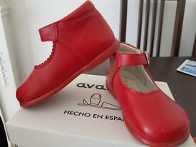 Red leather shoes for baby girl