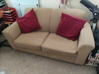 SOFA BED Sturdy Metal Action 2 Seater Sofabed 1.8M x 0.9M Cushions Included Good Condition