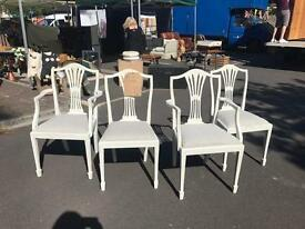 Set of 4 Dining Chairs Painted Annie Sloane White. Shabby Chic style