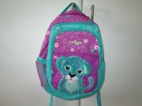 Smiggle back pack in purple and green, multi compartments, nearly new and very good quality