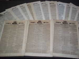 1821-JOHN-BULL-NEWSPAPER-LOT-OF-24-DIFF-PUBLISHED-IN-LONDON-8-55-NP-1505