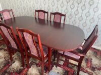 VINTAGE ANTIQUE EXTENDABLE DINING TABLE SET WITH 6 CHAIRS - UB1 POSTCODE COLLECTION ONLY