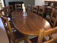 10 seater - Solid Oak Dining Table & Chairs