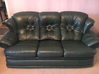 Green leather sofa and 2 reclining armchairs