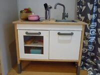 Toy kitchen from Ikea, excellent condition, Ikea food basket & utensils included.