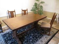Old Charm extending solid oak dining table