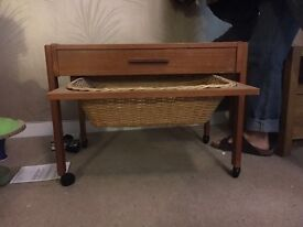 Sewing trolley with basket and draw. On castors