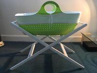 Moba moses basket, John lewis stand, handmade rocking stand + extras