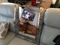Wrought iron rustic look mirror