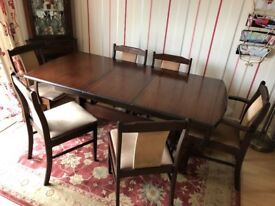Solid Mahogany Kitchen Dinning Table & 6 Chairs - table extends to seat 8, furniture up cycling