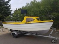14ft fibre glass fishing boat (no outboard) with trailer