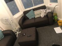 2 2 seater sofas with foot puffy
