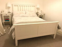 IKEA Hemnes White Double Bed Frame and Memory Sponge Mattress