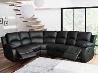 Leather Corner Recliner black sofa